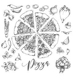 pizzan hand drawn vector image