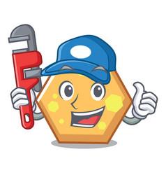 Plumber hexagon mascot cartoon style vector