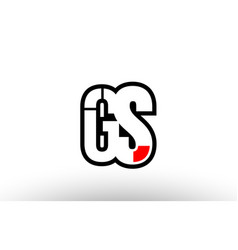 Red and black alphabet letter gs g s logo vector