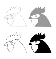 rooster head the black and grey color set icon vector image