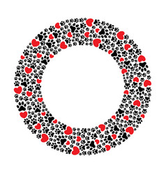 round frame paw prints and hearts vector image
