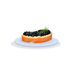sandwich with black fish caviar vector image