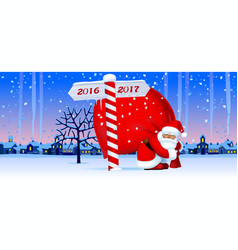 santa claus with a new year sign vector image