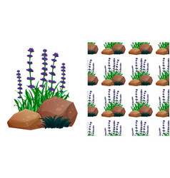 Seamless background design with lavender flowers vector