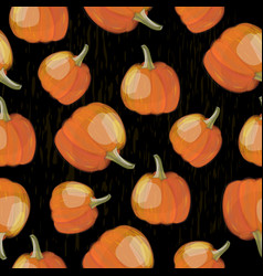 seamless pattern with pumpkin crop on black vector image