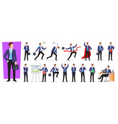 set character businessman employee vector image