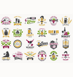 set craft beer and wine company badges with vector image