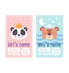 Set cute children s posters height weight vector