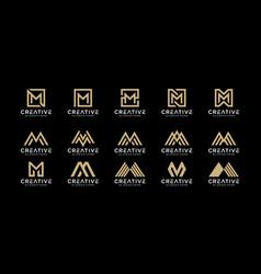 Set initials letter m abstract logo design vector