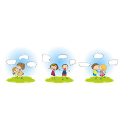 set people with speech balloon vector image