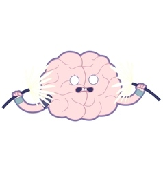 Shocked brain flat Train your brain vector image