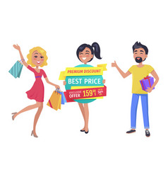 shopaholic friends with promotion in hands banner vector image