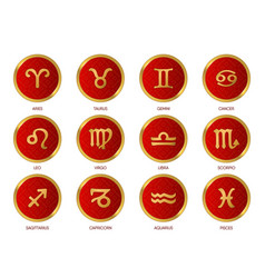 signs zodiac in red circle on a white background vector image