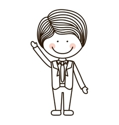 silhouette boy with raised hand and formal suit vector image