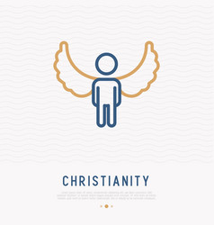 silhouette of angel with wings thin line icon vector image