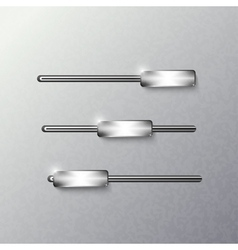 Sliders on a metal background vector image vector image