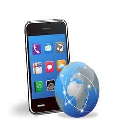 smart phone applications and global network vector image