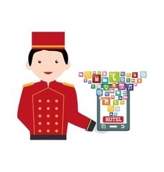 Smartphone and hotel digital apps design vector