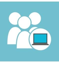 Social media laptop gro team vector