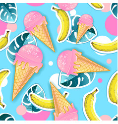 Summer seamless bright pattern with ice cream vector