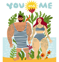 tattooed couple cartoon poster vector image
