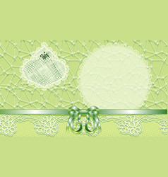 Template gift voucher with a bow and lace vector