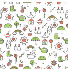 thin line art spring seamless pattern vector image