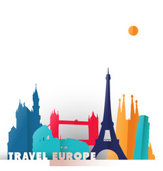 Travel europe paper cut world monuments vector