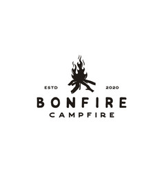 vintage burning bonfire with a large flame for vector image