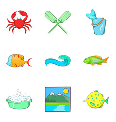 Water lifestyle icons set cartoon style vector