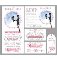 Wedding invitation setCouple bridegriimPink vector image