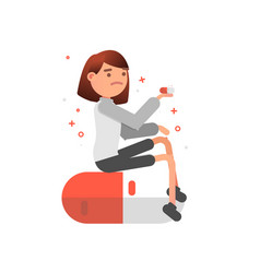 woman takes a pill flat vector image