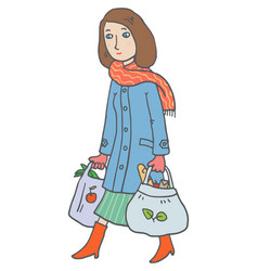 woman with eco-bags vector image