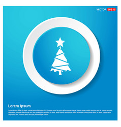x-mas tree icon abstract blue web sticker button vector image