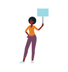 young african american woman with protest banner vector image