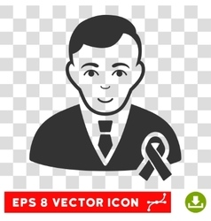 Gentleman With Mourning Ribbon EPS Icon vector image