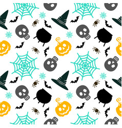 halloween seamless pattern white vector image