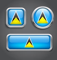 Saint Lucia flag glass buttons vector image