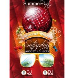 summer beach party flyer design with disco ball vector image vector image