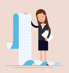 businesswoman or manager hold a long list or vector image