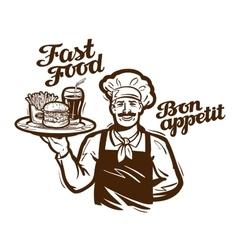 fast food logo restaurant cafe or diner vector image