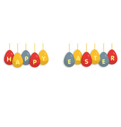 happy easter egg greating banner on white vector image vector image