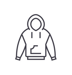 hoodie line icon sign on vector image vector image