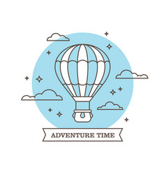 linear air balloon on blue background vector image vector image