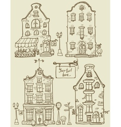 Set of hand drawn houses vector image vector image