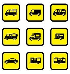 camper car yellow icon set vector image vector image