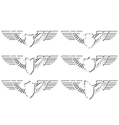 Contour abstract wings and shield vector image