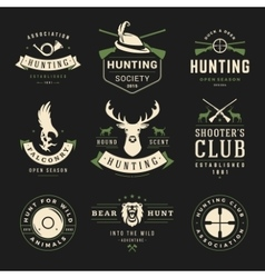 Set of hunting and fishing labels badges logos vector