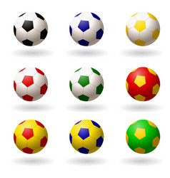 soccer ball set of balls different colors for vector image vector image