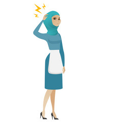 young muslim cleaner with lightning over head vector image